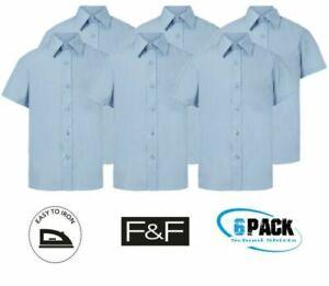 ! EX F&F ! Pack of 6 Girl Light Blue Short Sleeve School Shirts Uniform 11-12yrs