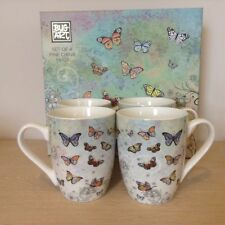 Set Of 4 Fine China Bug Art Butterfly Design  Mugs Matching Box BG0084