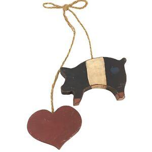 Handmade Hog Pig Heart Wooden Hanging Sign Black & White Pig with Red Heart Jute