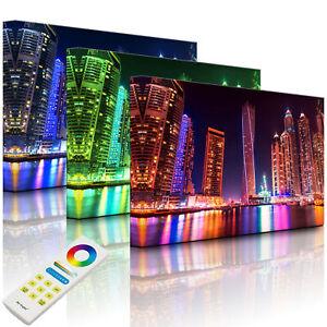 Beleuchtetes Bild LED Leuchtbild - Dubai Skyline mit Cayan Tower