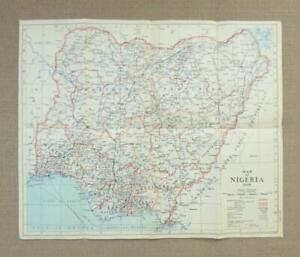 1949, MAP of NIGERIA, WEST AFRICA - Paper Map