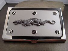 Handmade Silver Steampunk Dragon Business Card Holder