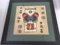 Asian Butterfly Art Completed Cross Stitch Picture Finished Nicely Matted Framed