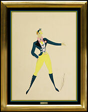 ERTE Original Gouache Painting Authentic Signed Deco Artwork Male Costume Design