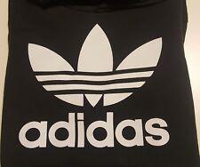 felpa nera girocollo logo adidas trifoglio