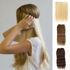Women Hidden Halo Invisible Wire Weft 100% Remy Human Hair Extension Full Head
