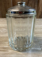 Antique Glass Tobacco Jar with Metal Lid 12 Sided Loose Lid