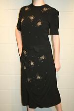 L Black Crepe Sequin Beaded Star  Vtg 30s 40s Draped Front Cocktail Party Dress