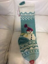 Pottery Barn Kids Merry & Bright Snowman Christmas Stocking No Mono Knitted Blue