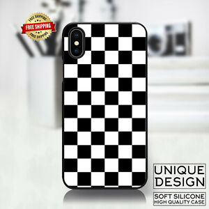 Checkered Black and White Phone Case Samsung Galaxy S10 S9 Huawei iPhone Case