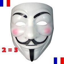Masque V Pour Vendetta Blanc PVC Anonymous Guy Fawkes Adulte Neuf Déguisement