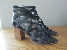 "New Forever 21 Women's Sandals Size 9 Black 3"" Heels Strappy Gladiator Shoes"
