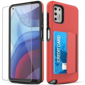 For Moto G Stylus 2021 wallet Case with Card Holder Slot + Screen Protector