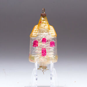 Vintage Blown Glass House Ornament Unsilvered with Tinsel Insert Germany