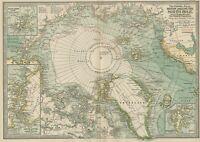 Arctic / North Polar Map: Authentic 1897 (Dated) Shows Explorer Routes