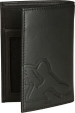 "MENS ADULTS FOX LEATHER WALLET ""SILENCER"" BI-FOLD IN BLACK CLASSIC FOX HEAD"