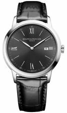 Baume & Mercier Classima Gray Dial Black Leather Date Quartz Mens Watch MOA10416