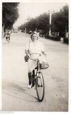 BD803 Carte Photo vintage card RPPC Femme woman vélo bicyclette route road