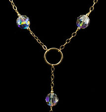 Crystal Necklace Solid 14K Yellow Gold with Large Crystal AB Swarovski Crystals