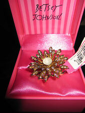 BETSEY JOHNSON ICONIC ENCHANTED GAREDN GOLD CRYSTAL FLOWER STRETCH RING