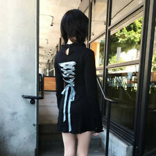 NEW Lolita Vintage Embroidery Japan Harajuku  Black Long Sleeve Slim Dress Girl