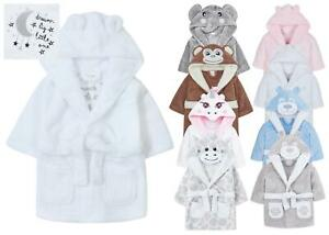 Baby Toddlers Bathrobe Infant Kid Soft Coral Fleece Hooded Dressing Gown