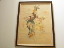 ANTIQUE NATIVE AMERICAN INDIAN PAINTING SIGNED MARGUERITE S PORTRAIT TRIBE DANCE