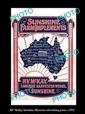 OLD LARGE HISTORIC PHOTO OF HV McKAY SUNSHINE HARVESTER ADVERTISING POSTER c1915