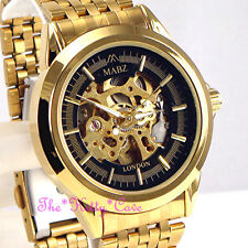 Automatic Mechanical Skeleton 2tone Gold Steampunk Men Gents Ladies Unisex Watch