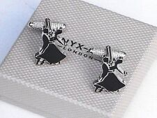 BALLROOM DANCERS in BLACK SILHOUTTE Silver Style Cuff Links in a GIFT BOX - NEW