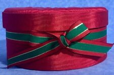 "Beautiful SATIN GIFT BOX W/Bow GREEN & RED with PADDED COVER  7""x4"" GIFT BOX"