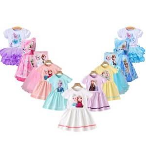 Kinder Mädchen Prinzessin Tutu Kleid Sommer Anna Elsa Cosplay Kostüm Kleider DE