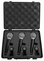 Samson R21 3-Pack Handheld Microphones+Mic Clips+Case For Church Sound Systems