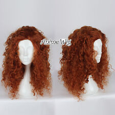 For Merida Reddish Brown 60CM Long Curly Hair Anime Party Cosplay Wig + Free Cap