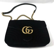 GUCCI GG Marmont Velvet Mini Shoulder Bag in Black Chevron Velvet with Heart