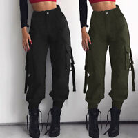 Women Cargo Trousers Hippie Dance Pants Military Army Combat Casual Hiking Jeans