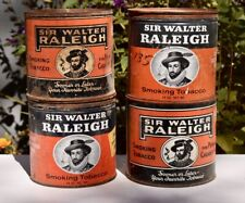 Vintage Sir Walter Raleigh Tobacco Tins Cans Lot Set Of 4 Key Wind