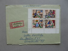 GERMANY DDR, R-cover 1968, block of 4 from S/S fairy-tales, cat spinningwheel