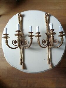 ~~ huge vintage French triple arm heavy pair wall lights ~~