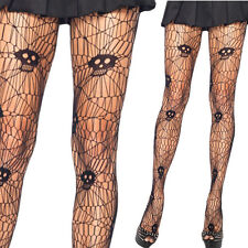 Womens Black Stockings Skull Cutout Spider Web Net Fishnet Tights Full Pantyhose