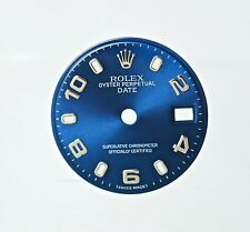 Ladies Rolex Blue 18K Oyster Perpetual Date Watch Dial with Luminous Markers