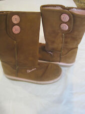Sketcher Boots~Tan Suede with Pink Fur Lining~Size 2~LBDMC