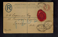 1906 Cambridge to London England Red Wax Seal Postal Stationery Cover