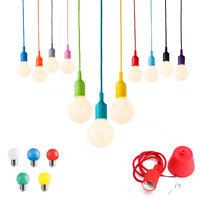 Pendente led colorato cavo telato lampadina miniglobo g45 lampadario sospensione
