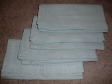 """VINTAGE Lot (4) Baby Blue Solid Fabric Napkins Table Linens 20"""" Square       C10"""