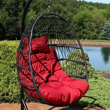 Sunnydaze Julia Hanging Egg Chair with Red Cushions - 44 Inches Tall