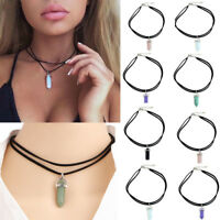 Vintage Crystal Charm Jewelry Pendant Chain Choker Chunky Bib Statement Necklace