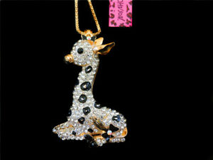 Betsey Johnson Enamel Crystal Rhinestone Cute Giraffe Pendant Women's Necklace