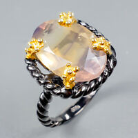 Vintage13ct+ Natural Fluorite 925 Sterling Silver Ring Size 8/R124550