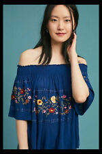878d9296d3e4 NWT Anthropologie Ranna Gill Washoe Off The Shoulder Peasant Top Navy XL $88